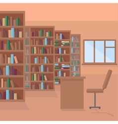 Library book shelf background vector