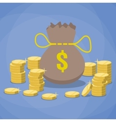Money bag and stacks of gold coins vector