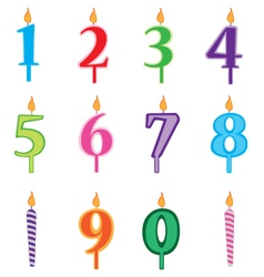 Birthday candles cartoon numbers set candles vector