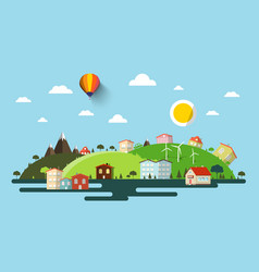Abstract flat design natural scene town or vector