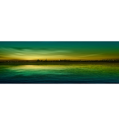 abstract nature green background with panorama of vector image vector image