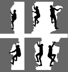 Black set silhouette rock climber on white vector