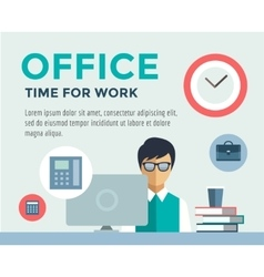 Clerk at work infographic office table designer vector