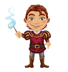 Cute fairy prince with magic wand image vector
