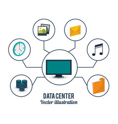 data center computer service storage vector image