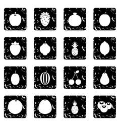 Fruit set icons grunge style vector image