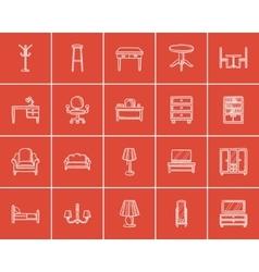 Furniture sketch icon set vector image vector image