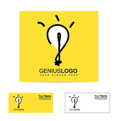 Genius bright idea light bulb logo vector