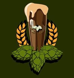 Glass of dark beer vector