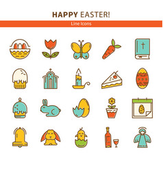 Happy easter set of line icons vector