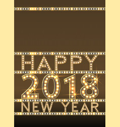 Happy new year greeting card with bulb lamps gold vector