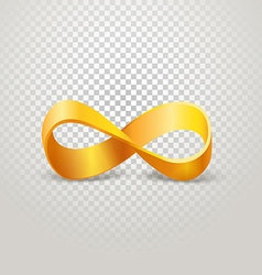 Infinity golden sign on transparent background vector