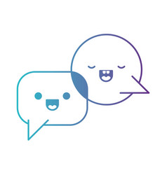 Kawaii dialogue speech set with tail in degraded vector