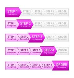 Pink progress bar for order process vector