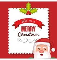 postcard santa merry christmas design vector image