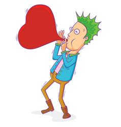 punk man blowing love balloon vector image