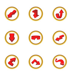 Red arrow icons set cartoon style vector