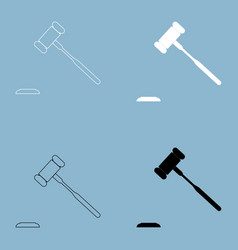 the judicial hammer the black and white color vector image