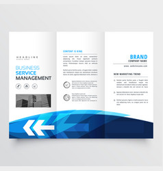 Tr-fold brochure flyer design template in blue vector