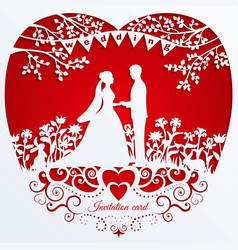 Wedding romantic invitation card with silhouette vector