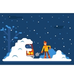 Winter man digs car out of snow background flat vector