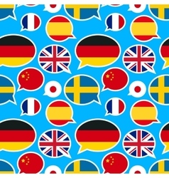 Speech bubbles with different flags on blue vector image