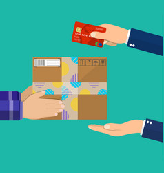 Human hand holds money and pay for the package vector