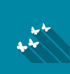 Butterfly icon with long shadow vector
