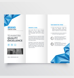 Tri-fold brochure flyer design with geometric vector
