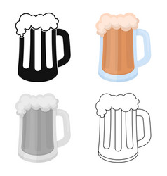 Beer mug icon in cartoon style isolated on white vector