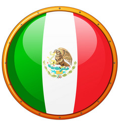 mexico flag on round badge vector image