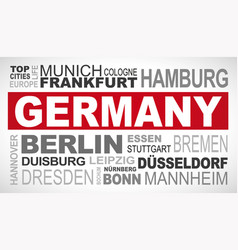 Germany top and famous city names word cloud vector