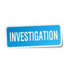 Investigation square sticker on white vector