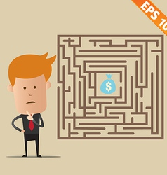 Business man finding exit route of labyrinth - vector