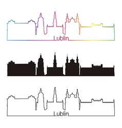 Lublin skyline linear style with rainbow vector
