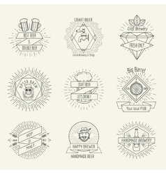 Hipster style handmade beer and craft brewery logo vector