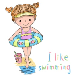 Girl swimming vector