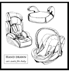 Car seats for baby on white background vector