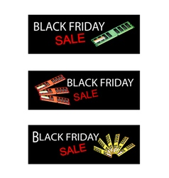 Computer ram on black friday sale banners vector
