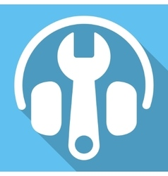 Headphones tuning flat square icon with long vector