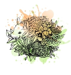 Black and white wild animal hedgehog abstract art vector
