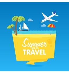 Time to travel summer vacation flat vector