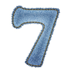 Jeans alphabet Denim number 7 vector image