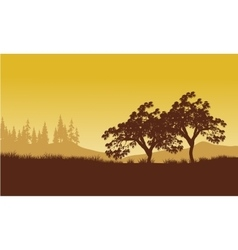 Silhouette of tree with yellow backgrounds vector