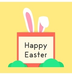 Happy easter with rabbit ears and bushes vector