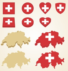 Switzerland map flag 3d pack vector
