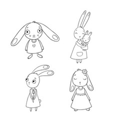 a set of cute cartoon bunny girls beautiful vector image