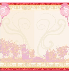Asian Landscape and Chinese Lanterns vector image
