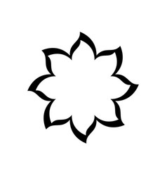 black contour with flower icon vector image