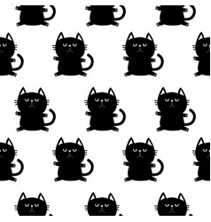 black sitting cat head with paw print cute vector image vector image